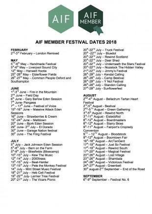 2018 FESTIVAL DATES