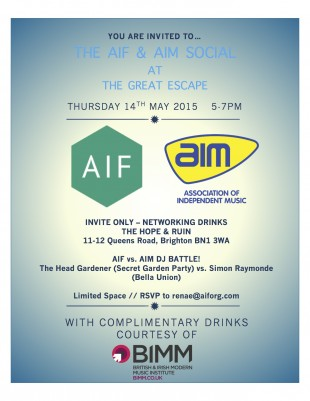 AIF & AIM Networking Social At The Great Escape (Invite Only)